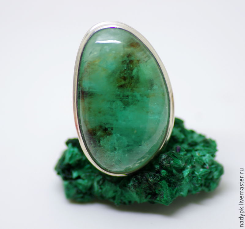 An emerald ring 'At the bottom of the sea.' silver, Rings, Moscow,  Фото №1