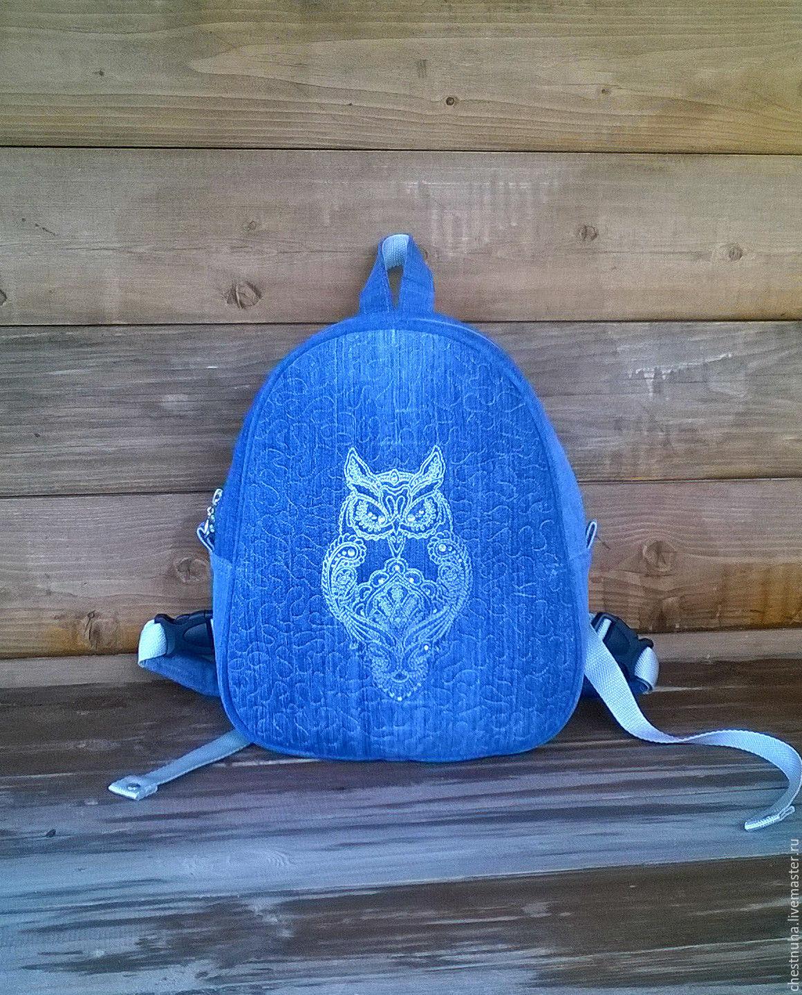 Backpack denim female Owl, Backpacks, Kostroma,  Фото №1