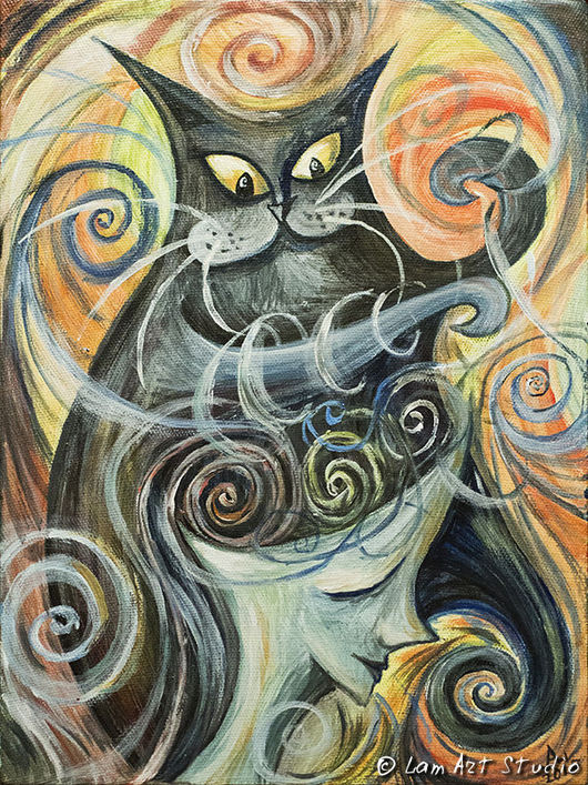 """Фантазийные сюжеты ручной работы. Ярмарка Мастеров - ручная работа. Купить Картина """"Игры с разумом"""". Handmade. Кошки, кошка, кот"""
