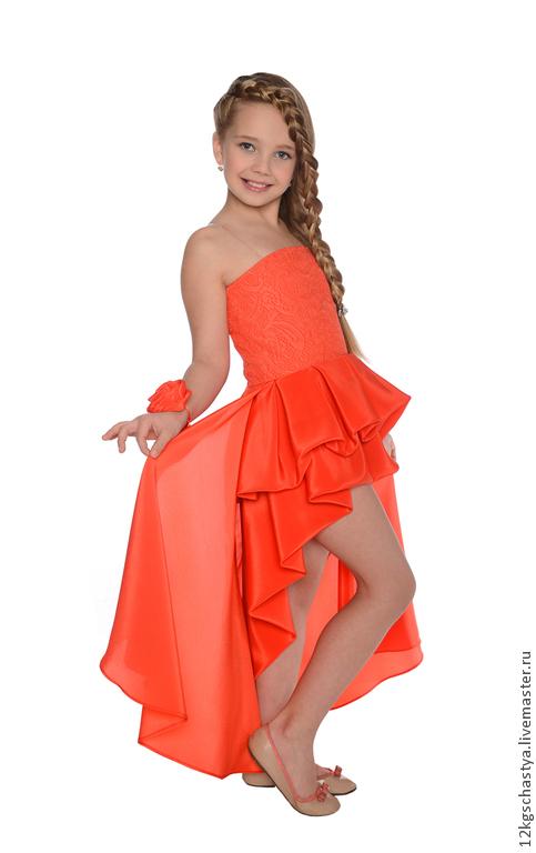 Одежда для девочек, ручной работы. Ярмарка Мастеров - ручная работа. Купить Платье со шлейфом. Handmade. Коралловый, рыжее