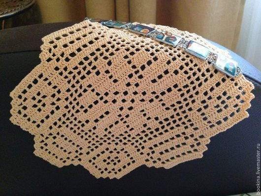 Текстиль, ковры ручной работы. Ярмарка Мастеров - ручная работа. Купить Винтажная овальная салфетка-медальон. Handmade. Бежевый