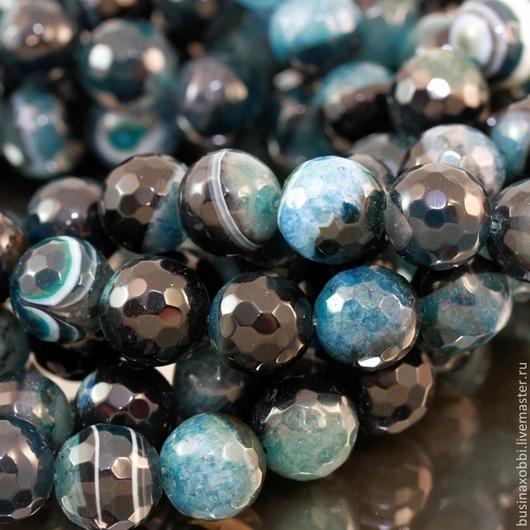 Бусины из натурального камня агата синего с черным цвета формы граненый шар диаметром 12 мм