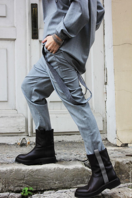 4aa04bef32b158 ... R0041A Брюки серые брюки модные брюки дизайнерские брюки женская одежда  свободные брюки стильные брюки шерстяные брюки ...