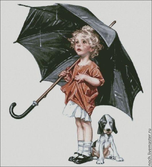 """Вышивка ручной работы. Ярмарка Мастеров - ручная работа. Купить Схема для вышивки """"Дождь, девочка, зонт!. Handmade. Вышивка"""