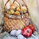 Натюрморт ручной работы. Ярмарка Мастеров - ручная работа. Купить Акварельная картина: Овощной натюрморт.. Handmade. Ярко-красный