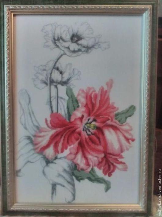 Картины цветов ручной работы. Ярмарка Мастеров - ручная работа. Купить Тюльпан Вышитая картина Крестиков. Handmade. Абстракция, цветы