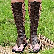 Обувь ручной работы handmade. Livemaster - original item Gladiators genuine leather brown Croco. Handmade.