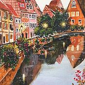 """Картины и панно ручной работы. Ярмарка Мастеров - ручная работа Картина акварелью, городской пейзаж """"Вечер в Эльзасе"""". Handmade."""