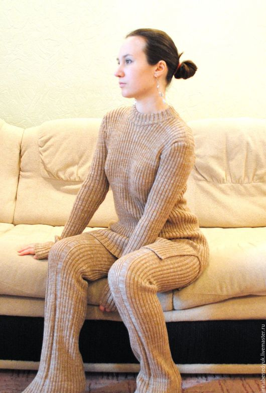 Костюмы ручной работы. Ярмарка Мастеров - ручная работа. Купить Вязаный брючный костюм. Handmade. Комбинированный, кашемир