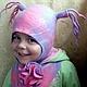 """Шапки и шарфы ручной работы. Ярмарка Мастеров - ручная работа. Купить Шапочка """"Озорная куколка"""". Handmade. Голубой, интересная шапочка"""