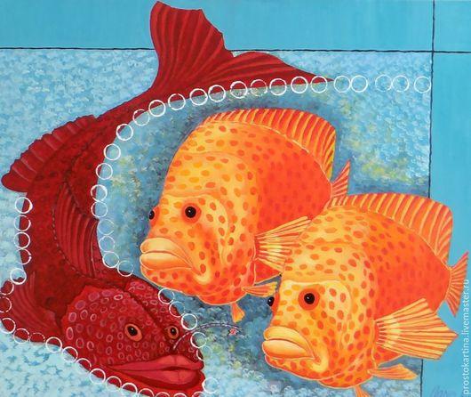 Животные ручной работы. Ярмарка Мастеров - ручная работа. Купить Голубой аквариум. Handmade. Голубой, картина маслом, картина с рыбами