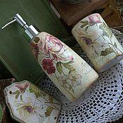 """Для дома и интерьера ручной работы. Ярмарка Мастеров - ручная работа Набор для ванной """"Любимые цветы"""", в стиле Винтаж. Handmade."""
