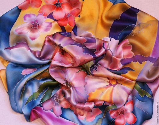 """Шали, палантины ручной работы. Ярмарка Мастеров - ручная работа. Купить Батик платок """"Тропики"""". Handmade. Комбинированный, платок с росписью"""