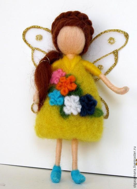 Детская ручной работы. Ярмарка Мастеров - ручная работа. Купить Фея цветочная. Handmade. Желтый, фея на елку, вальдорфская кукла