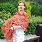 Аксессуары handmade. Livemaster - original item Light scarf Ryabina silk ekoprint red orange. Handmade.