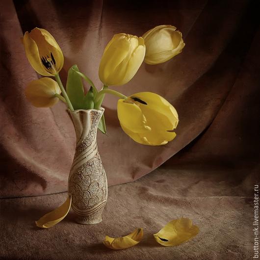 Фотокартины ручной работы. Ярмарка Мастеров - ручная работа. Купить Натюрморт Желтые тюльпаны. Handmade. Желтый, коричневый, красота, вдохновение