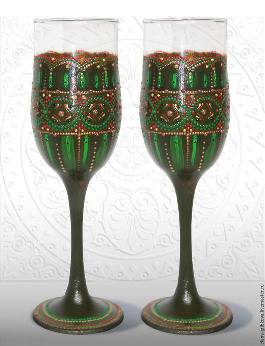 Бокалы, стаканы ручной работы. Ярмарка Мастеров - ручная работа. Купить Бокалы для вина Малахит. Handmade. Малахит, свадебный подарок