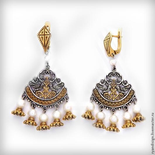 Серьги `Птицы хранители` (серебро, жемчуг)  подарок женщине