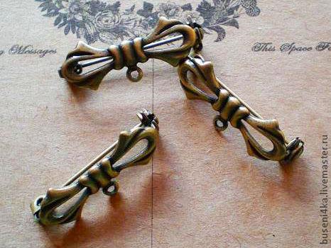 Для украшений ручной работы. Ярмарка Мастеров - ручная работа. Купить Основа для броши Бант, античная бронза (1шт). Handmade.