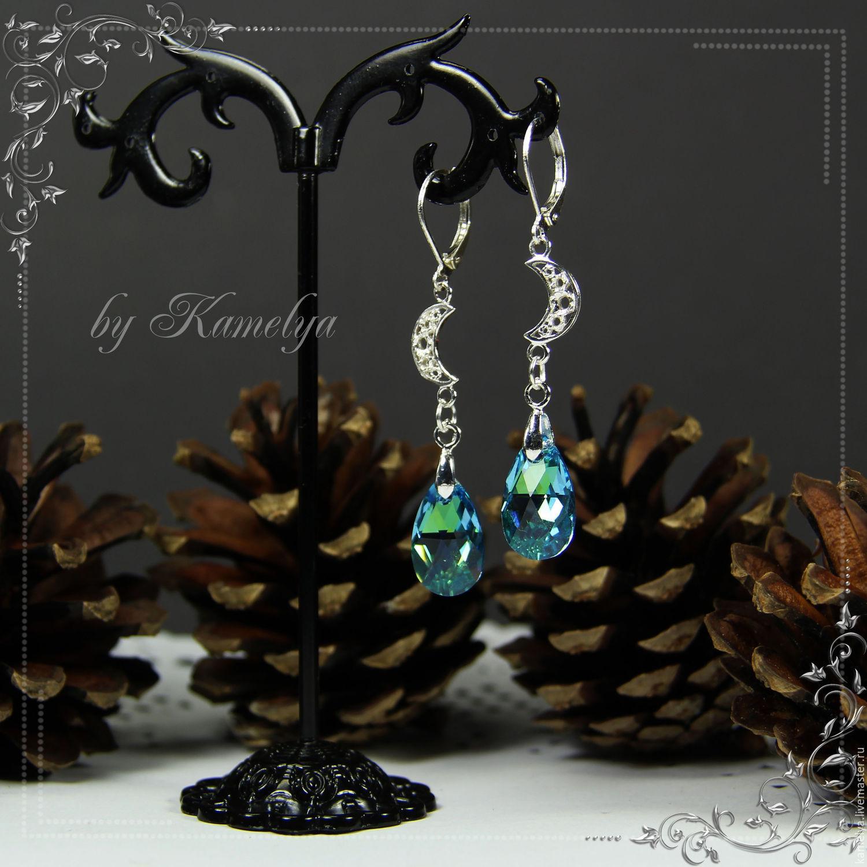 Drop earring with Swarovski crystals 'Night star' 925 silver, Earrings, Yaroslavl,  Фото №1