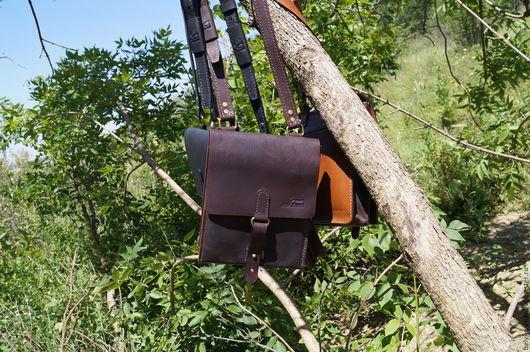 """Мужские сумки ручной работы. Ярмарка Мастеров - ручная работа. Купить мужская сумка """"Nastalgiya the Army"""" темно коричневая. Handmade."""
