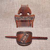 Украшения handmade. Livemaster - original item Slavic wooden comb wooden barrette with atick mosaic of wood inlay. Handmade.
