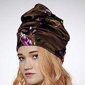 Аксессуары handmade. Livemaster - original item Turban hat hijab millinery Brown with flowers. Handmade.