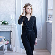 Одежда handmade. Livemaster - original item Jumpsuit.Romper black Jersey jumpsuit women`s. Handmade.