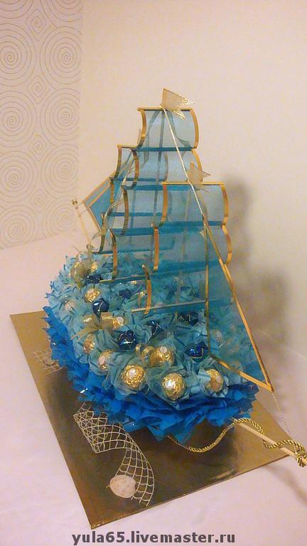 Кулинарные сувениры ручной работы. Ярмарка Мастеров - ручная работа. Купить Корабль из конфет. Handmade. Сладкий подарок, корабль