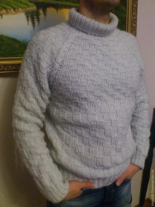 Для мужчин, ручной работы. Ярмарка Мастеров - ручная работа. Купить свитер. Handmade. Белый, ручная вязка