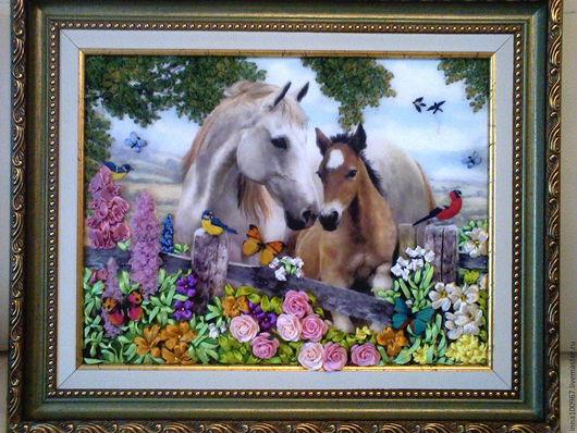 Животные ручной работы. Ярмарка Мастеров - ручная работа. Купить лошадки. Handmade. Вышивка, готовая работа, Вышивка лентами