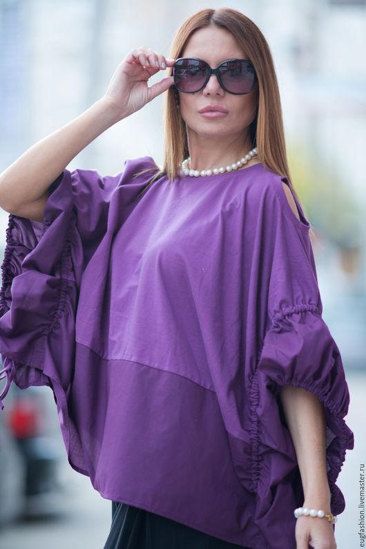 Блузка, Фиолетовая Блузка, Блузка Из Хлопка, Нарядная Блузка, Модная женская блузка, Летняя блузка, Одежда Для Женщин