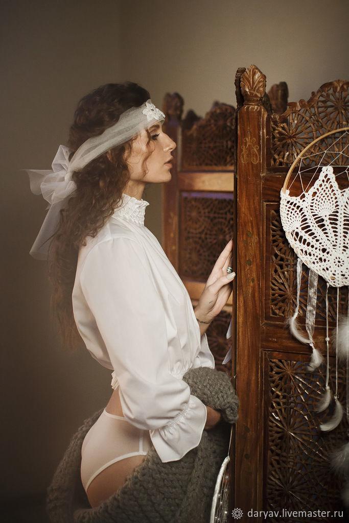 Белая блуза из хлопка в стиле бохо, Блузки, Санкт-Петербург, Фото №1