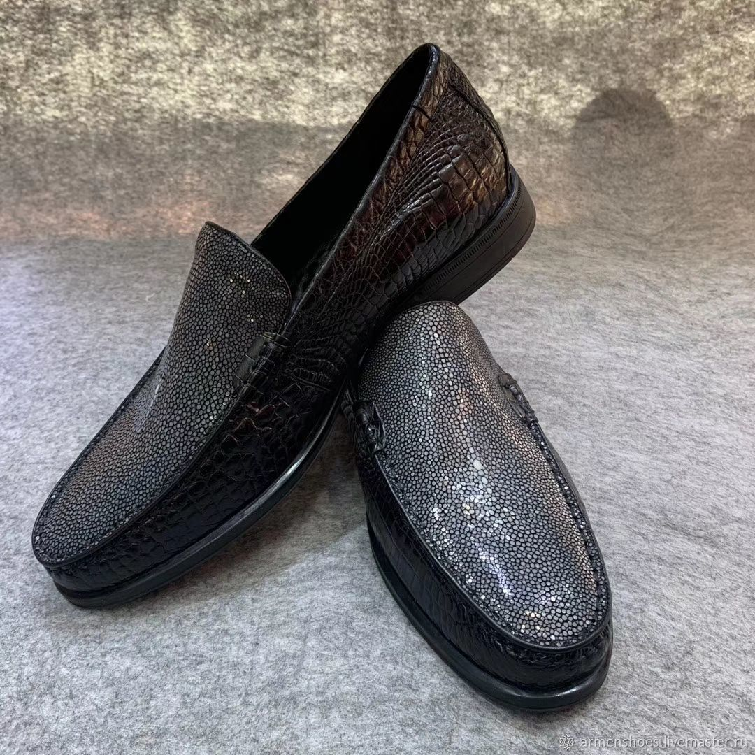Men's loafers made of polished Stingray and crocodile leather, Loafers, Tosno,  Фото №1