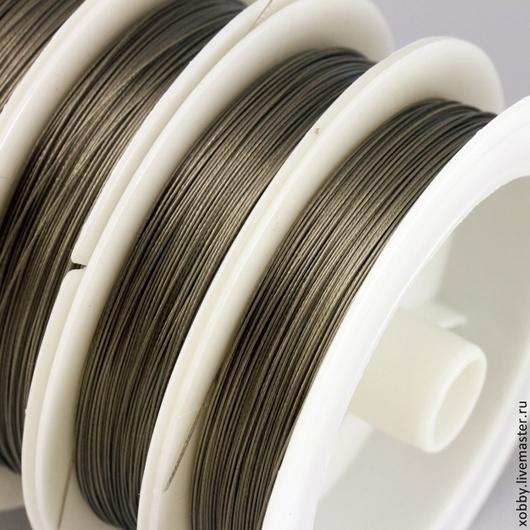 Тросик ювелирный стальной  для сборки украшений на катушке по 50 метров диаметром 0,38 мм из 7 струн в пластиковой защитной бесцветной оплетке