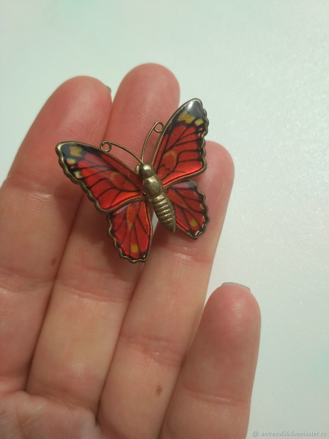 Vintage brooch ' Red butterfly', Vintage brooches, Orenburg,  Фото №1
