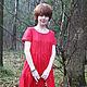 """Платья ручной работы. Ярмарка Мастеров - ручная работа. Купить Платье льняное """"Клюквенный красный"""". Handmade. Ярко-красный, оборки"""