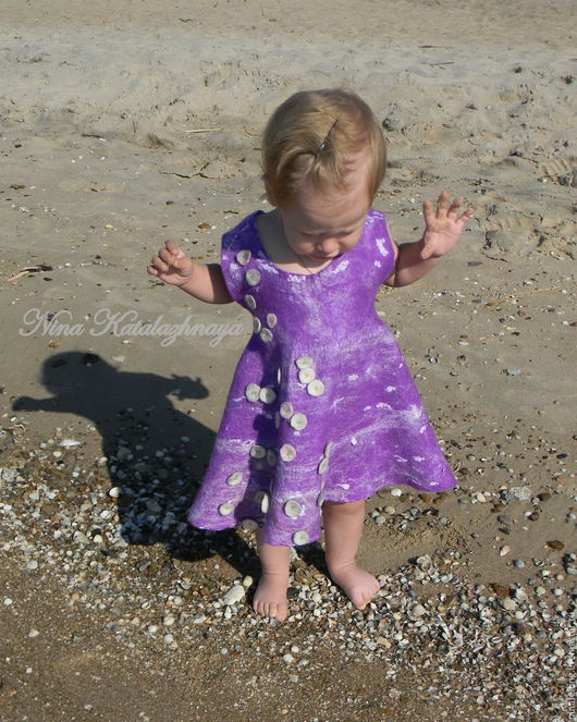 Одежда для девочек, ручной работы. Ярмарка Мастеров - ручная работа. Купить Валяное платье для девочки Зефирное небо. Handmade. Фиолетовый