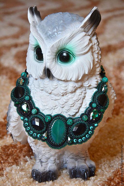 """Колье, бусы ручной работы. Ярмарка Мастеров - ручная работа. Купить Колье """"Emerald"""" из бисера и камней.. Handmade. Морская волна"""