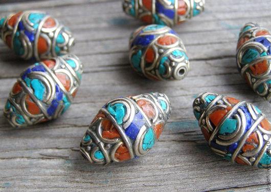 Для украшений ручной работы. Ярмарка Мастеров - ручная работа. Купить Бусины Непал Тибет с бирюзой и кораллом, лазуритом, Непал БН24. Handmade.