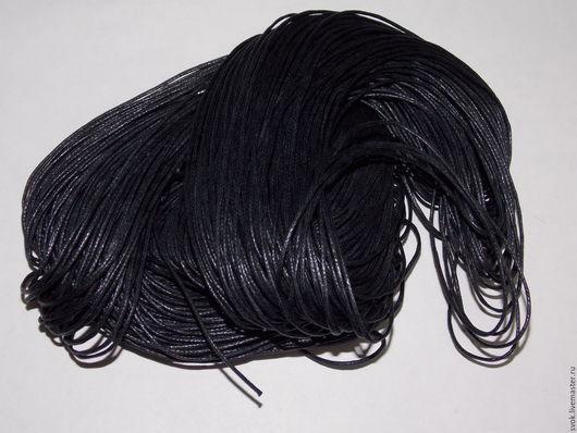 Для украшений ручной работы. Ярмарка Мастеров - ручная работа. Купить Шнур вощеный, 1 мм, шнур декоративный, чёрный. Handmade.