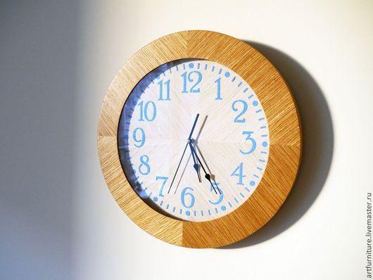Часы для дома ручной работы. Ярмарка Мастеров - ручная работа. Купить Деревянные часы на стену- большие настенные часы из дерева дуб. Handmade.