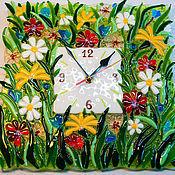 Для дома и интерьера handmade. Livemaster - original item Outside of the glass, fusing the clock