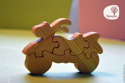 Развивающие игрушки ручной работы. Ярмарка Мастеров - ручная работа. Купить Мотоцикл - пазл. Развивающая деревянная игрушка.. Handmade.