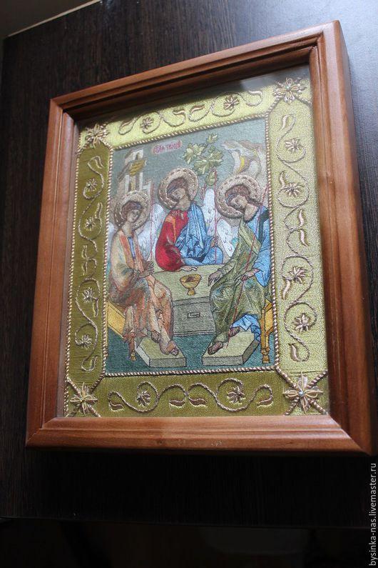 """Иконы ручной работы. Ярмарка Мастеров - ручная работа. Купить Вышитая Икона """"Троица"""",ручная вышивка  шёлком и золотом. Handmade."""