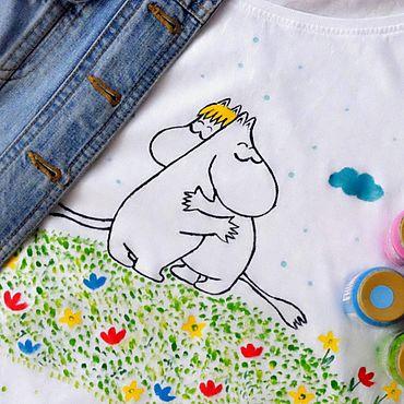 Одежда ручной работы. Ярмарка Мастеров - ручная работа Футболка Муми-тролли, ручная роспись. Handmade.