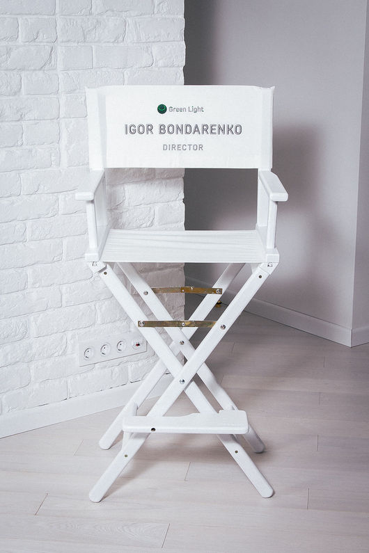 Мебель ручной работы. Ярмарка Мастеров - ручная работа. Купить Режиссерское кресло дуб - с 3D вышивкой. Handmade. Белый