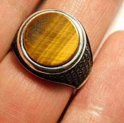 Мужское кольцо. Серебро. Тигровый глаз.