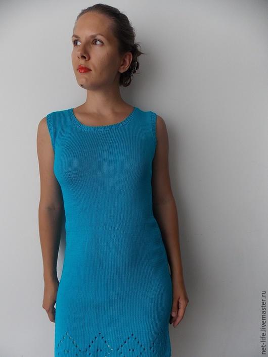 """Платья ручной работы. Ярмарка Мастеров - ручная работа. Купить Платье """"Бирюза"""" вязаное хлопок. Handmade. Бирюзовый, хлопковое платье"""