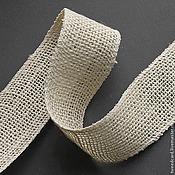Материалы для творчества ручной работы. Ярмарка Мастеров - ручная работа Лента джутовая отбеленная, ширина 4,5 см, 1 ярд. Handmade.